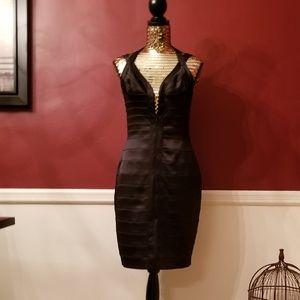 Cache Satin Shutter Cocktail Dress